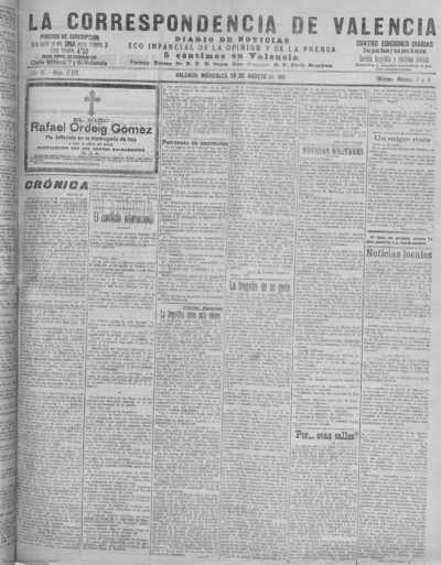 Image from object titled La correspondencia de Valencia : diario de noticias : eco imparcial de la opinión y de la prensa: Año XL Número 17172 - 1917 Agosto 29