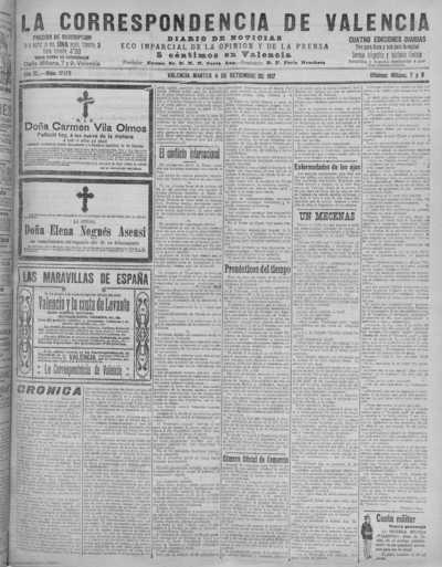 Image from object titled La correspondencia de Valencia : diario de noticias : eco imparcial de la opinión y de la prensa: Año XL Número 17178 - 1917 Septiembre 04