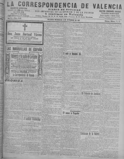 Image from object titled La correspondencia de Valencia : diario de noticias : eco imparcial de la opinión y de la prensa: Año XL Número 17179 - 1917 Septiembre 05