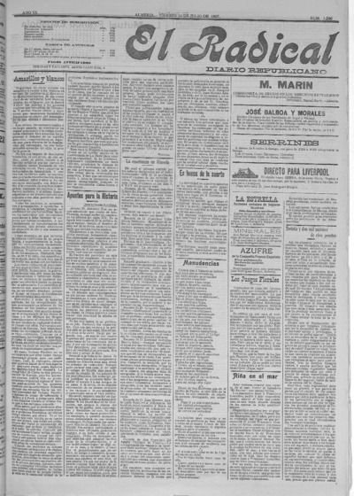 Image from object titled El Radical : diario republicano: Año VI Número 1536 - 1907 julio 19