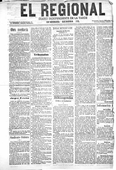 Image from object titled El regional : diario independiente de la tarde: Año III Número 633