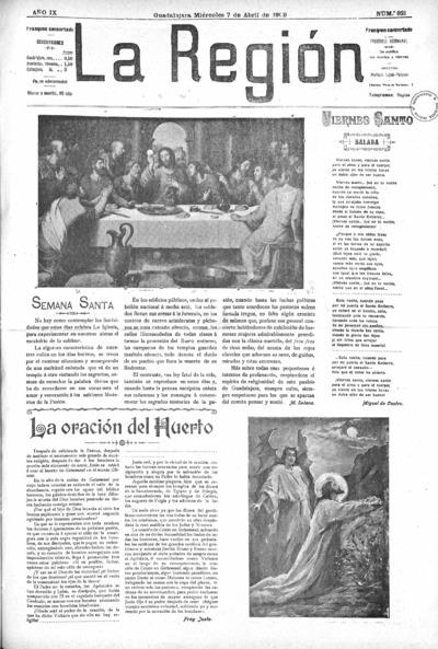 Image from object titled La Región : periódico bisemanal: Año IX Número 821 - 1909 abril 7