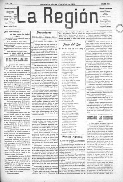 Image from object titled La Región : periódico bisemanal: Año IX Número 822 - 1909 abril 13