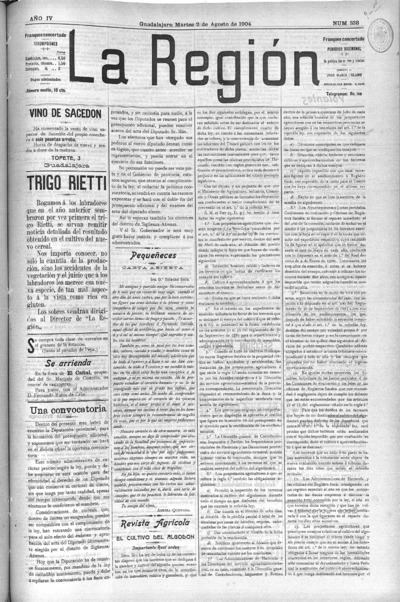 Image from object titled La Región : periódico bisemanal: Año IV Número 338 - 1904 agosto 2