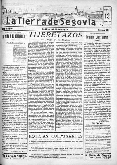 Image from object titled La Tierra de Segovia : diario independiente: Año II Número 256 - 1920 marzo 13