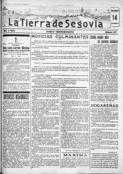 Image from object titled La Tierra de Segovia : diario independiente: Año II Número 257 - 1920 marzo 14