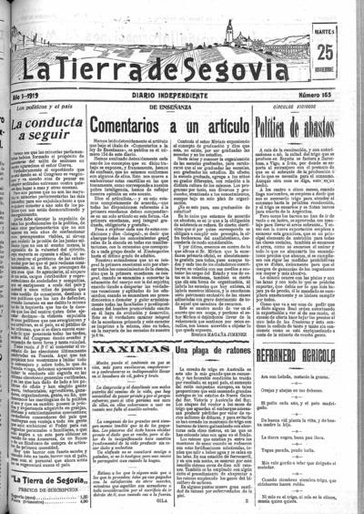 Image from object titled La Tierra de Segovia : diario independiente: Año I Número 165 - 1919 noviembre 25