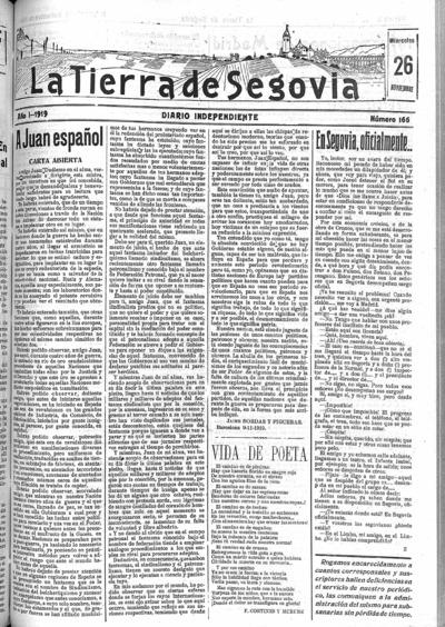 Image from object titled La Tierra de Segovia : diario independiente: Año I Número 166 - 1919 noviembre 26
