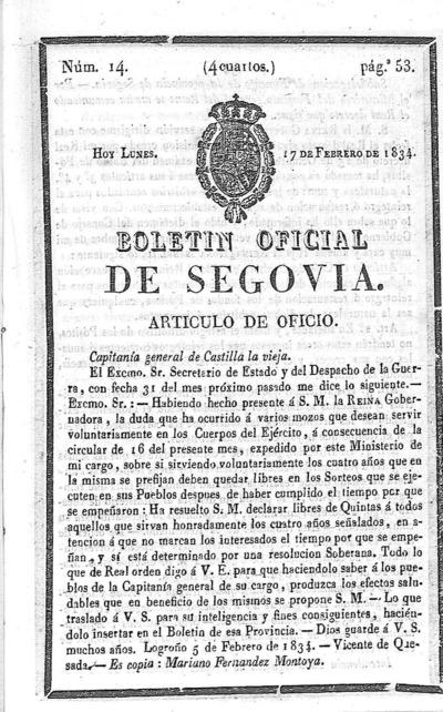 Image from object titled Boletín de Segovia: Número 14 - 1834 febrero 17