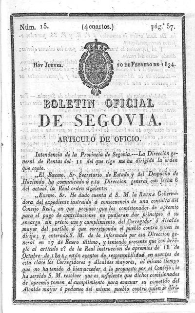 Image from object titled Boletín de Segovia: Número 15 - 1834 febrero 20