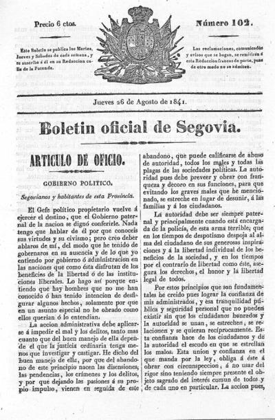Image from object titled Boletín de Segovia: Número 102 - 1841 agosto 26