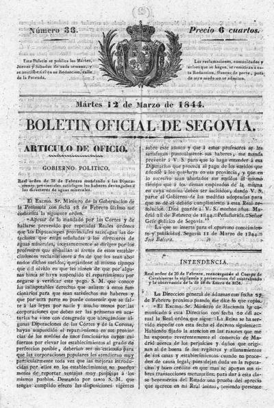 Image from object titled Boletín de Segovia: Número 33 - 1844 marzo 12