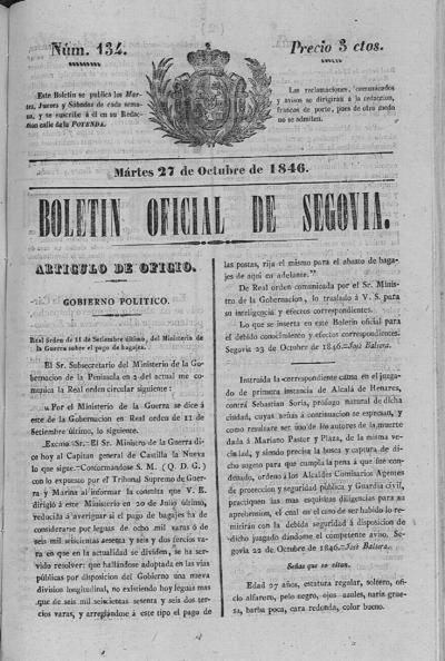 Image from object titled Boletín de Segovia: Número 134 - 1846 octubre 27