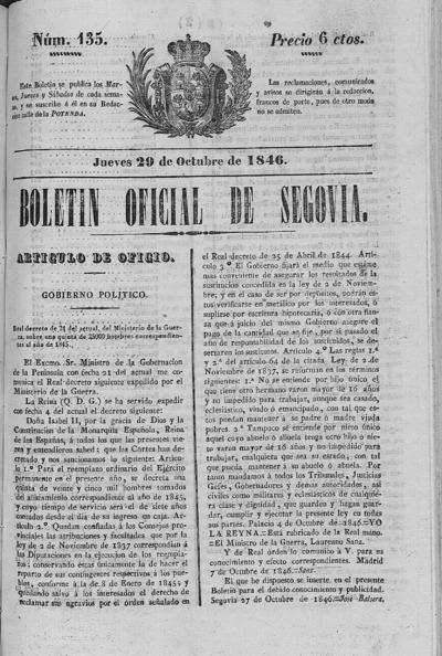 Image from object titled Boletín de Segovia: Número 135 - 1846 octubre 29