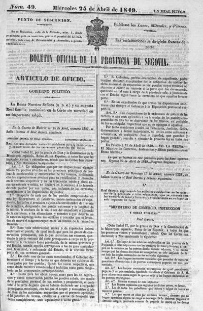 Image from object titled Boletín de Segovia: Número 49 - 1849 abril 25