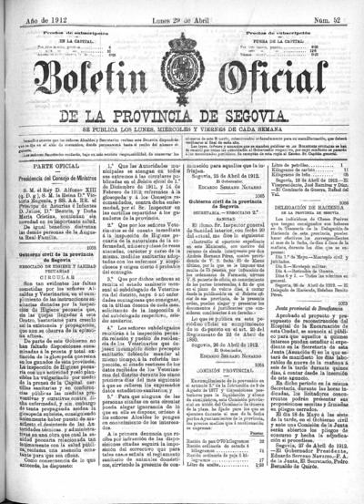 Image from object titled Boletín de Segovia: Número 52 - 1912 abril 29