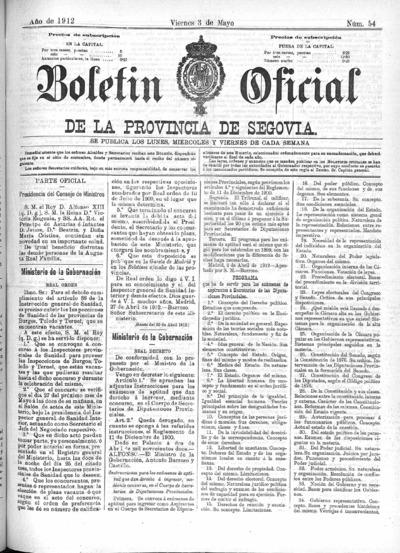 Image from object titled Boletín de Segovia: Número 54 - 1912 mayo 3