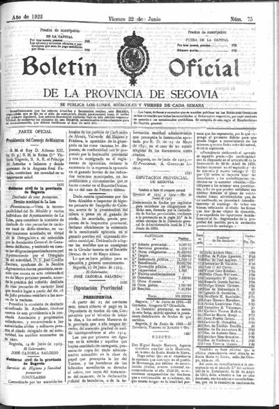 Image from object titled Boletín de Segovia: Número 75 - 1923 junio 22