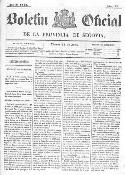 Image from object titled Boletín de Segovia: Número 88 - 1859 julio 22