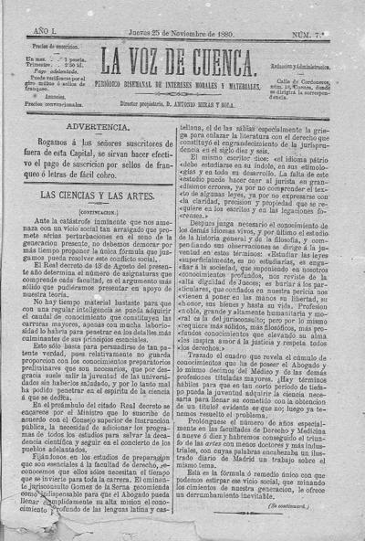Image from object titled La voz de Cuenca : periódico bisemanal de intereses morales y materiales: Año I Número 7 - 1880 noviembre 25
