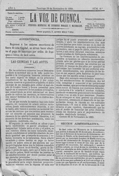 Image from object titled La voz de Cuenca : periódico bisemanal de intereses morales y materiales: Año I Número 8 - 1880 noviembre 28