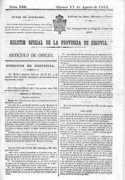 Image from object titled Boletín de Segovia: Número 100 - 1855 agosto 17