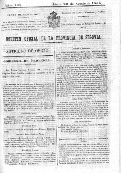 Image from object titled Boletín de Segovia: Número 101 - 1855 agosto 20