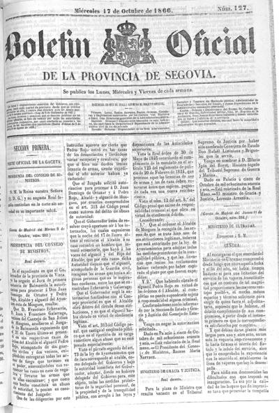 Image from object titled Boletín de Segovia: Número 127 - 1866 octubre 17