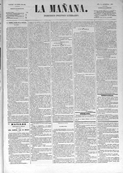 Image from object titled La mañana : diario político: Año IV Número 1201 - 1880 enero 9