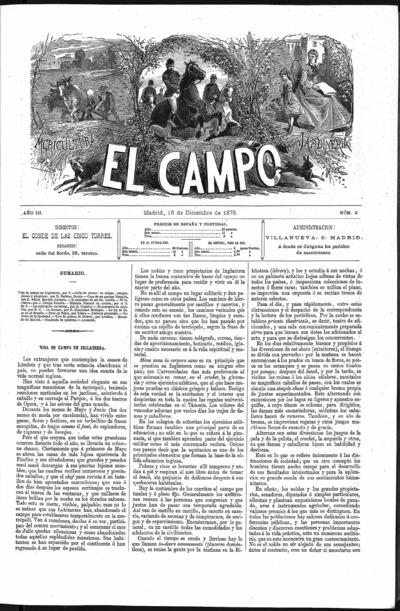 Image from object titled El campo : agricultura, jardineria y sport: Tomo III Año III Número 2 - 1878 diciembre 16