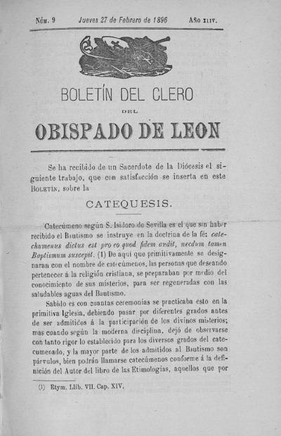 Image from object titled Boletín del Clero del Obispado de León: Año XLIV Tomo XLIV Número 9 - 1896 febrero 27