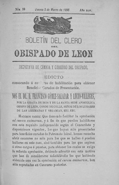 Image from object titled Boletín del Clero del Obispado de León: Año XLIV Tomo XLIV Número 10 - 1896 marzo 5