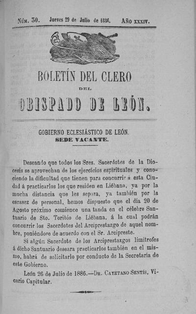 Image from object titled Boletín del Clero del Obispado de León: Año XXXIV Tomo XXXIV Número 30 - 1886 julio 29