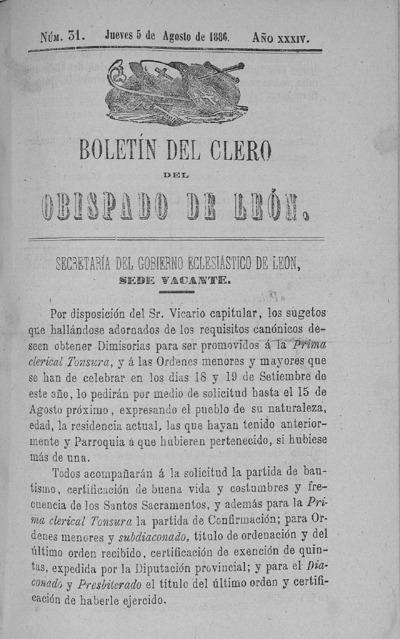 Image from object titled Boletín del Clero del Obispado de León: Año XXXIV Tomo XXXIV Número 31 - 1886 agosto 5