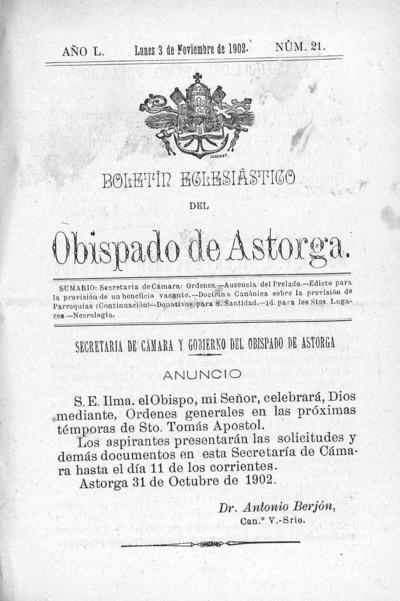 Image from object titled Boletín Eclesiástico del Obispado de Astorga: Año L Número 21 - 1902 noviembre 3