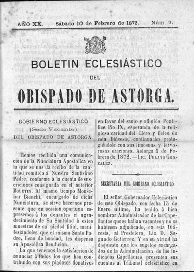 Image from object titled Boletín Eclesiástico del Obispado de Astorga: Año XX Tomo XX Número 2 - 1872 febrero 10