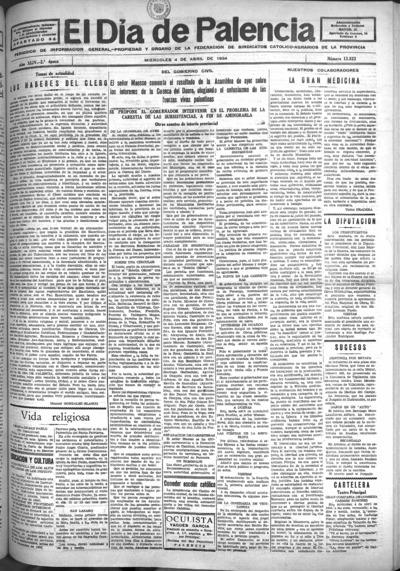Image from object titled El Día de Palencia : defensor de los intereses de Castilla: Año XLIV Epoca 2ª Número 13833 - 1934 abril 4