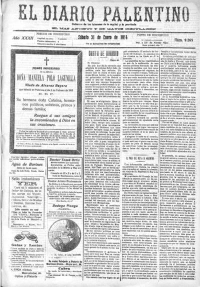 Image from object titled El Diario Palentino : defensor de los intereses de la capital y la provincia. El más antigüo y de mayor circulación: Año XXXII Número 9265 - 1914 enero 31