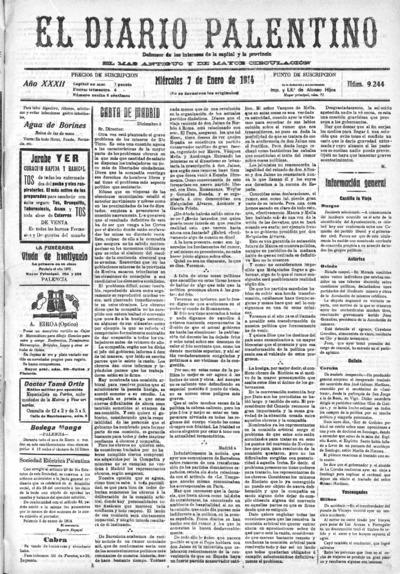 Image from object titled El Diario Palentino : defensor de los intereses de la capital y la provincia. El más antigüo y de mayor circulación: Año XXXII Número 9244 - 1914 enero 7