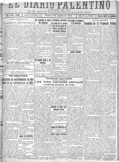 Image from object titled El Diario Palentino : defensor de los intereses de la capital y la provincia. El más antigüo y de mayor circulación: Año LI Número 14630 - 1932 agosto 9