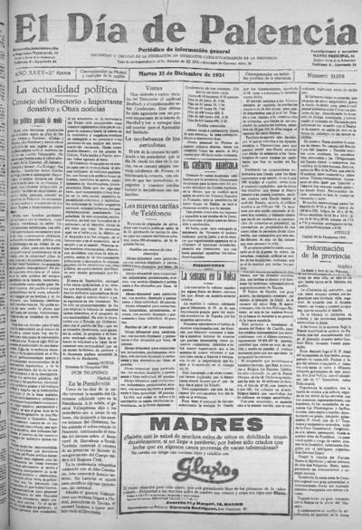 Image from object titled El Día de Palencia : defensor de los intereses de Castilla: Año XXXV Epoca 2ª Número 11078 - 1924 diciembre 23