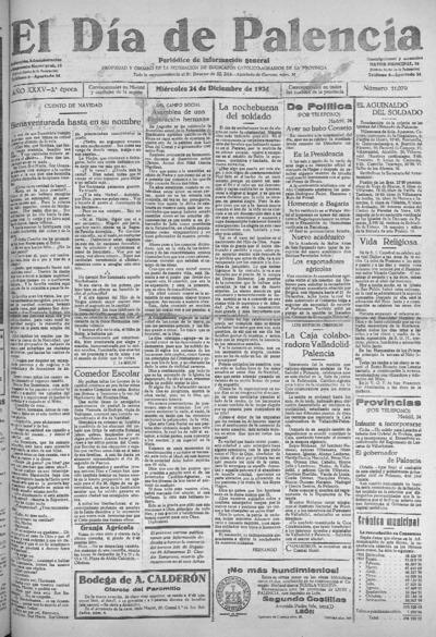 Image from object titled El Día de Palencia : defensor de los intereses de Castilla: Año XXXV Epoca 2ª Número 11079 - 1924 diciembre 24