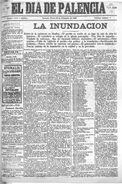 Image from object titled El Día de Palencia : defensor de los intereses de Castilla: Año XX Número 6339 - 1909 diciembre 28