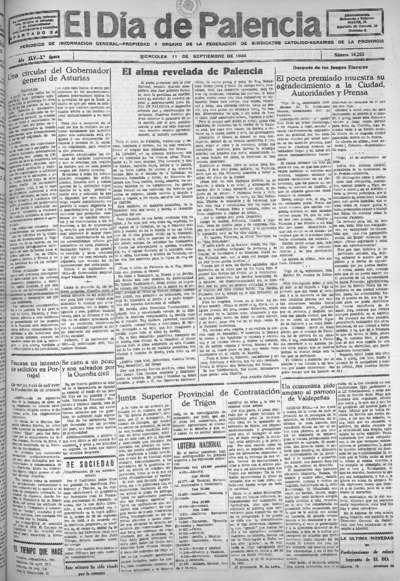 Image from object titled El Día de Palencia : defensor de los intereses de Castilla: Año XLV Epoca 2ª Número 14263 - 1935 septiembre 11