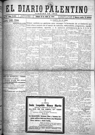 Image from object titled El Diario Palentino : defensor de los intereses de la capital y la provincia. El más antigüo y de mayor circulación: Año LIII Número 15145 - 1934 abril 28