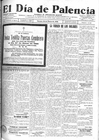 Image from object titled El Día de Palencia : defensor de los intereses de Castilla: Año XXXVII Epoca 2ª Número 11449 - 1926 marzo 26
