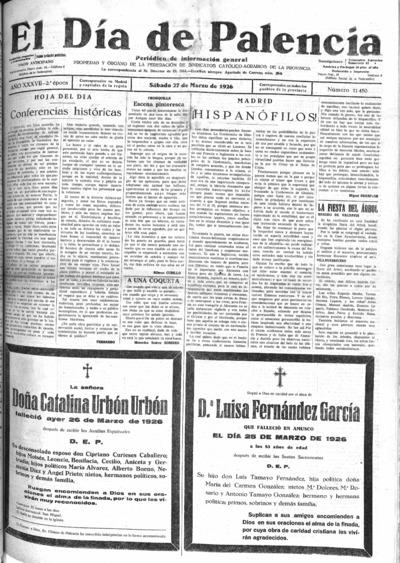 Image from object titled El Día de Palencia : defensor de los intereses de Castilla: Año XXXVII Epoca 2ª Número 11450 - 1926 marzo 27