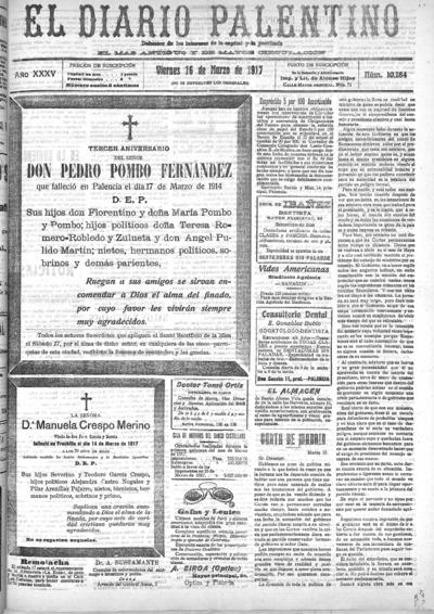 Image from object titled El Diario Palentino : defensor de los intereses de la capital y la provincia. El más antigüo y de mayor circulación: Año XXXV Número 10184 - 1917 marzo 16