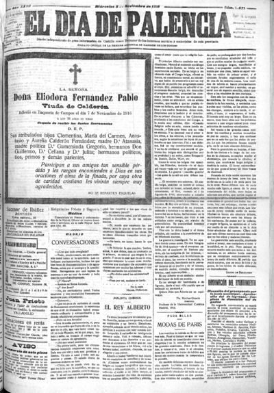 Image from object titled El Día de Palencia : defensor de los intereses de Castilla: Año XXVII Número 8671 - 1916 noviembre 8