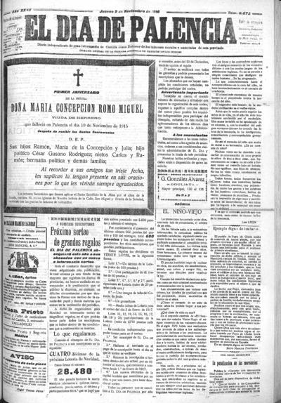 Image from object titled El Día de Palencia : defensor de los intereses de Castilla: Año XXVII Número 8672 - 1916 noviembre 9